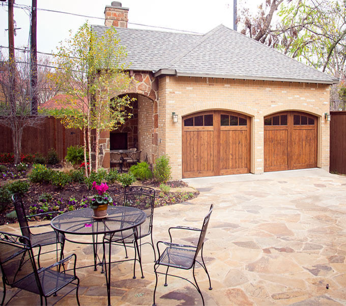 Photo of garage and patio area